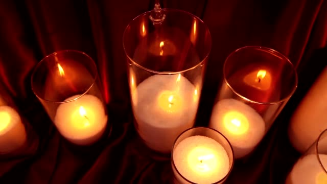 candle decorative on a black background, new year, christmas, new year decorations video