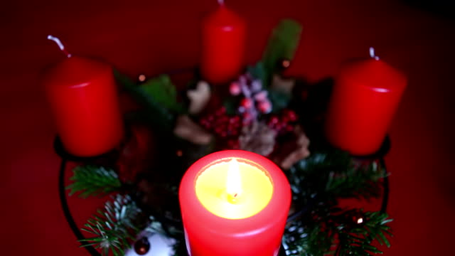 Candle of an advent wreath video