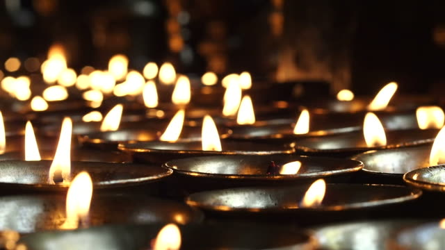Candle Offerings in Buddhist Temple in Kathmandu, Nepal video