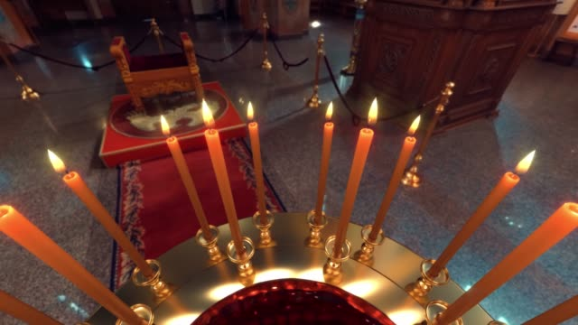 Candle on Candlestick Holder in Church - Camera rotation