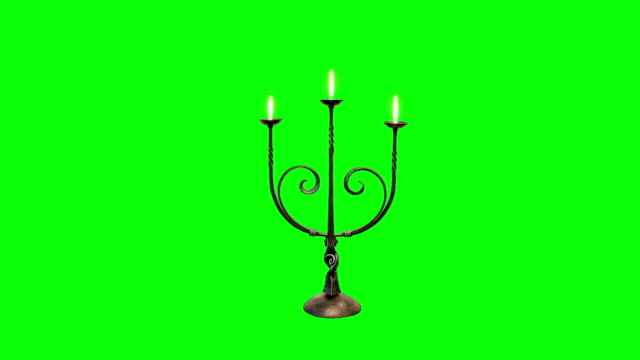 Candle Stick with Flames on a Green Screen Background video