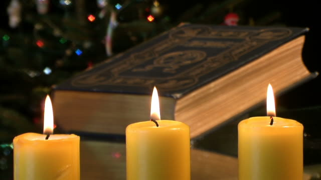 Candles and old bible