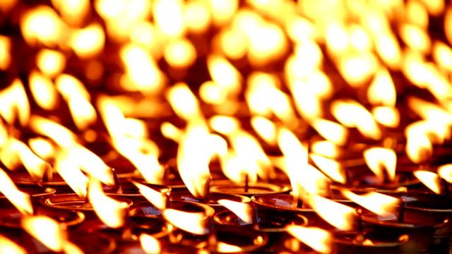 Candles burning at Boudhanath, Kathmandu, Nepal video