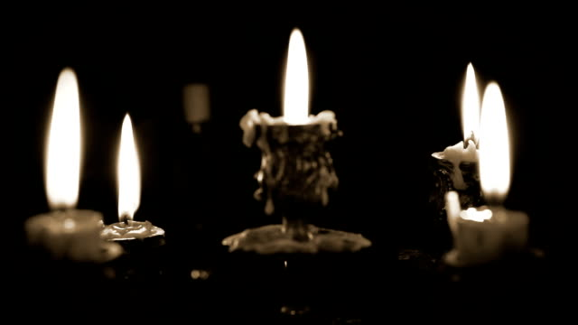 Candles candelabrum with five branches in full dark video