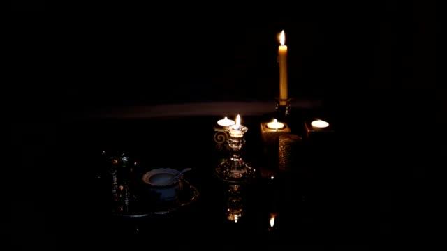 Candles in dark room. loop video