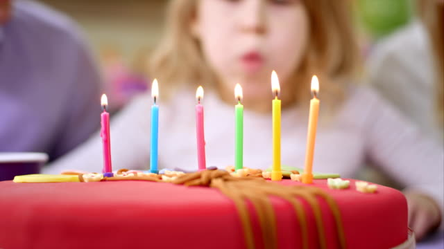 SLO MO candles on the birthday cake being blown out video