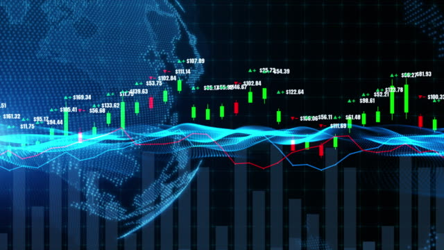 stockvideo's en b-roll-footage met candlestick grafiek grafiek met digitale data, uptrend of downtrend van de prijs van de beurs of beurshandel, investeringen en financieel concept. - kandelaar