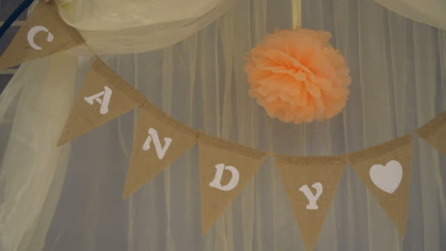 Candy bar on wedding ceremony with a lot of different candies and beverages video