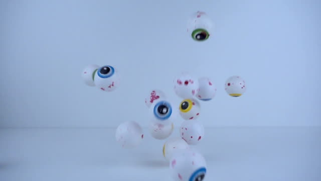 Candy eyes falling in slow motion. Halloween concept video