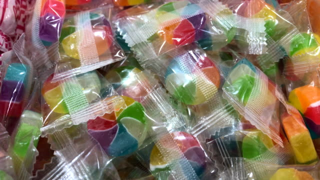 Candy inside wrapped plastic