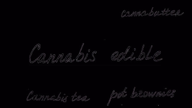 Cannabis edible. Alpha channel included. Animation on marijuana. Black font on a transparent background. You can use any your background. video