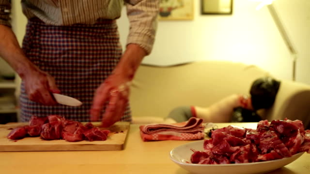 Cannibal chopping up his victim, humour video