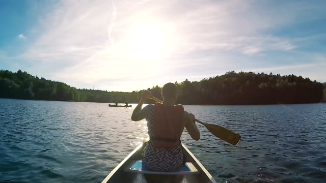 Canoeing in Sweden Slow Motion video