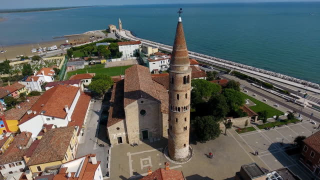 Caorle town with a chapel video