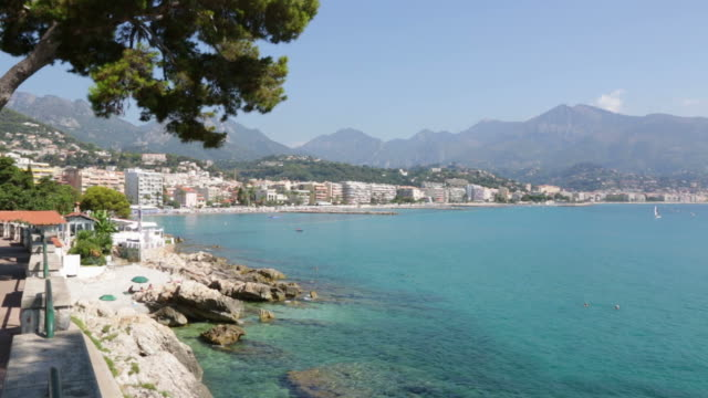 Cap Martin and Roquebrune, French riviera coast with blue sea in a sunny summer day video