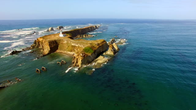 Cape Arago Oregon Coast Landscape Gregory Point Aerial View video