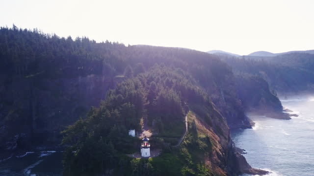 Cape Meares Lighthouse on Oregon Coast - Drone Shot video