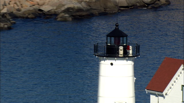 Cape Neddick Lighthouse  - Aerial View - Maine,  York County,  United States video