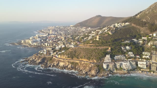 Cape Town Aerial of Coastline and Sea Point at Beach Sunset video