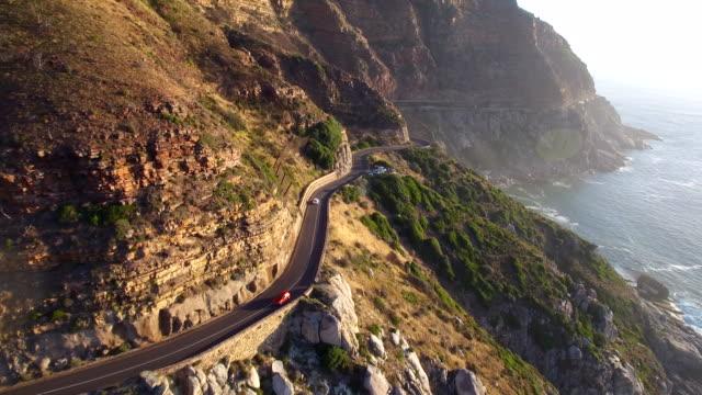 Cape Town, Chapman's Peak Drive Aerial Shot Following Car along Road video