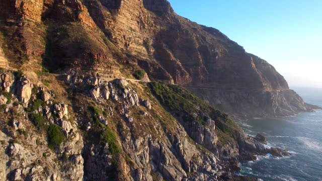 Cape Town, Chapman's Peak Drive at Sunset Aerial View video