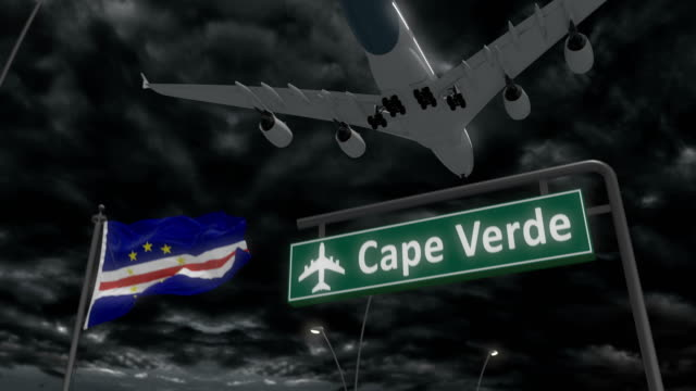 vídeos de stock e filmes b-roll de cape verde, approach of the aircraft to land - cabo verde