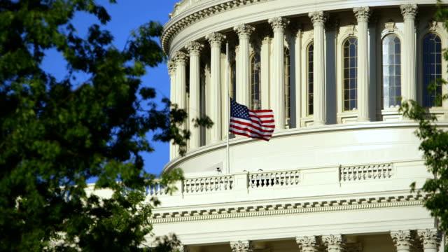 US Capital Medium Angle with Flag at Half Mast video