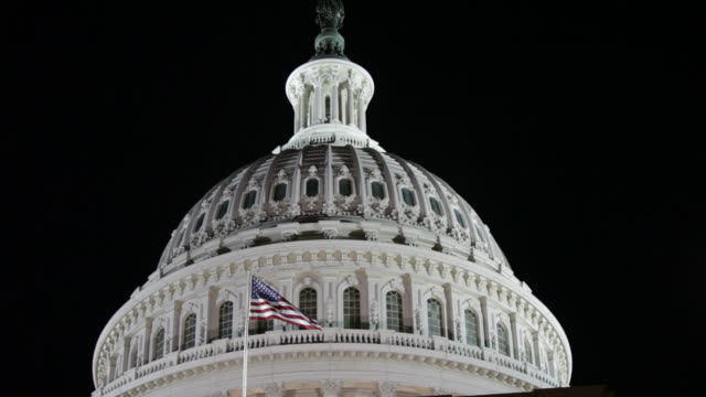 US Capitol at night video