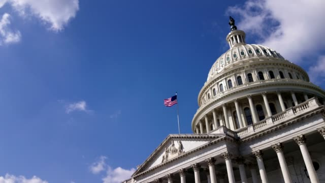 U.S. Capitol Building East Facade With American Flag in Washington, DC