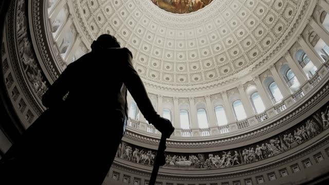 U.S. Capitol Building Rotunda George Washington in Washington, DC - Tilt Up
