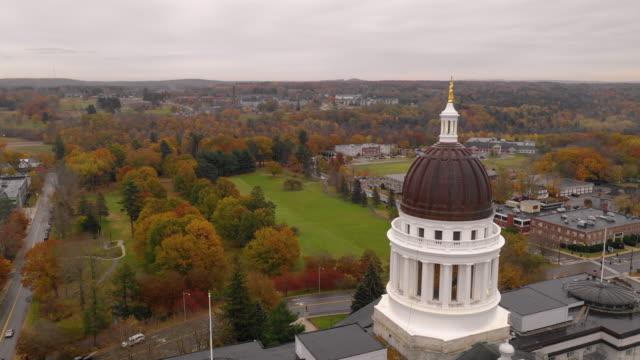 Capitol Building State House Augusta Maine Autumn Season Aerial