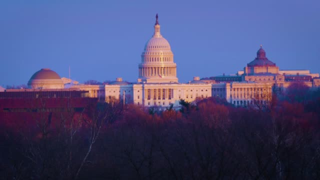 US Capitol Building US Capital Washington DC Golden Hour Winter Framed wide so you have room for graphics supreme court stock videos & royalty-free footage
