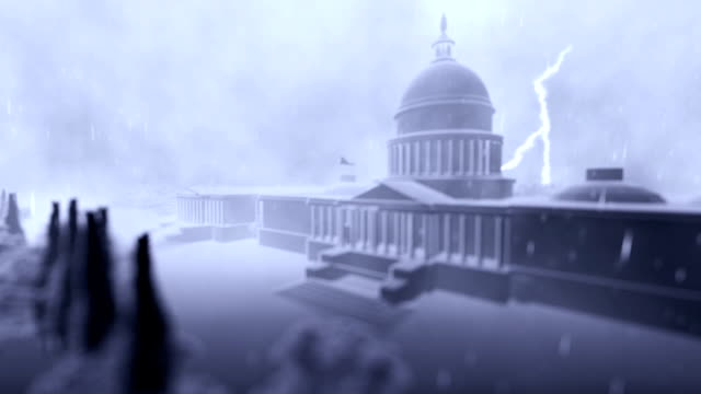 Capitol building, Washington, storm with lightnings, loop video