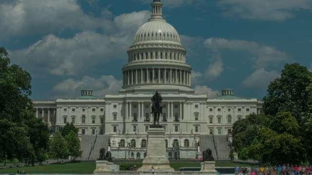 U.S. Capitol Building West Wide Angle in Washington, DC - Time Lapse in 4k/UHD video