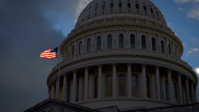 US Capitol Glowing American Flag Sunset video