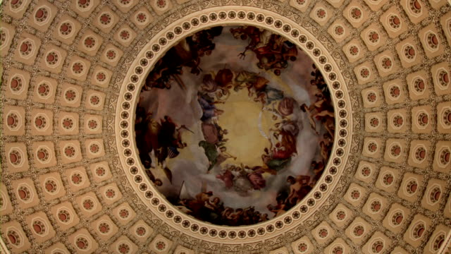 US Capitol interior of Rotunda and Dome-  ECU SPIN video