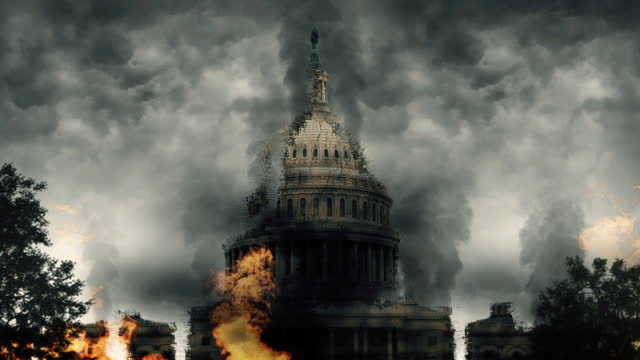 US Capitol Ruins Surrounded By Heavy Smoke