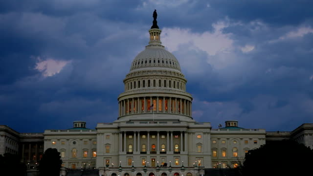 US Capitol West facade at dusk with clouds - TL video