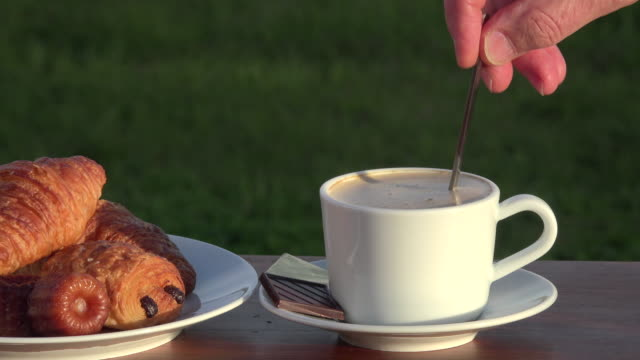 cappuccino, croissants and pastries video
