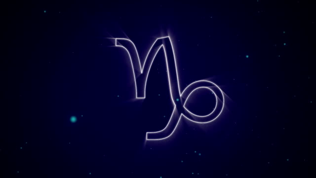 Capricorn zodiac sign on purple