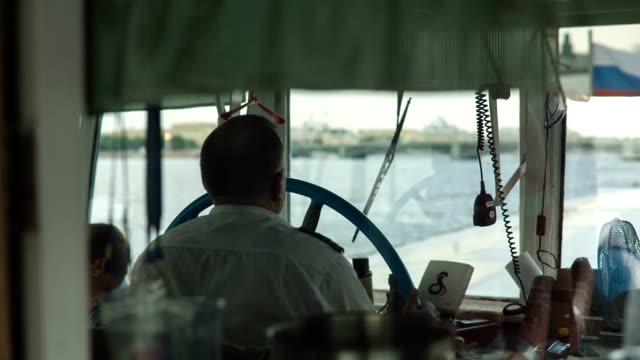 kapitan jazda statek na rzece - ster fragment pojazdu filmów i materiałów b-roll