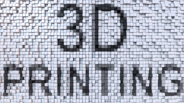 3D PRINTING caption on fluctuating pixels motion background, seamless loop animation video