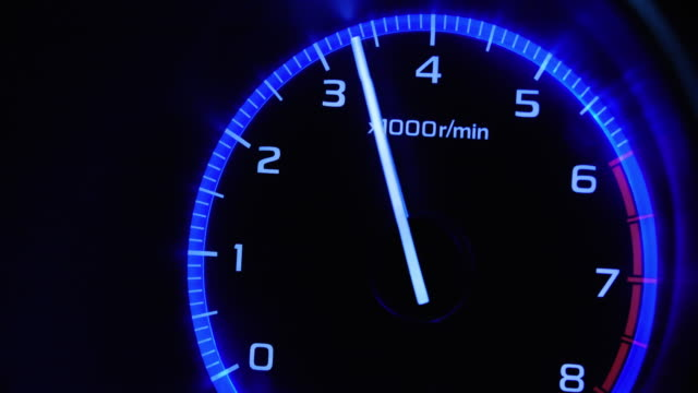 4K - Car acceleration. Tachometer front view video