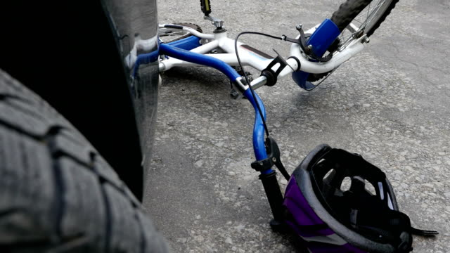 Car and bicycle road accident video