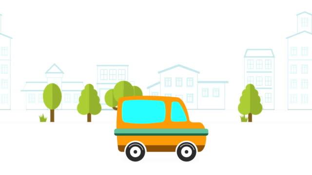auto animation vor dem hintergrund der city.2d animation. bewegte stadt hintergrund. cartoon-auto - drive illustration stock-videos und b-roll-filmmaterial