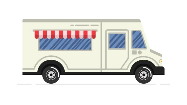 Car animation. Food truck. Looped animation. 4K resolution