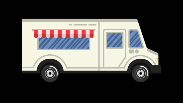 Car animation. Food truck. Looped animation with alpha channel. 4K resolution