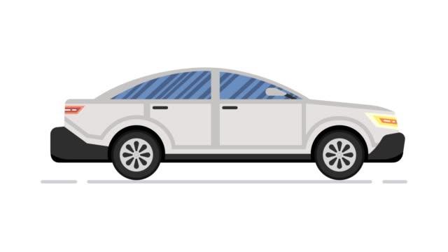 Car animation. Modern sedan. Looped animation. 4K resolution