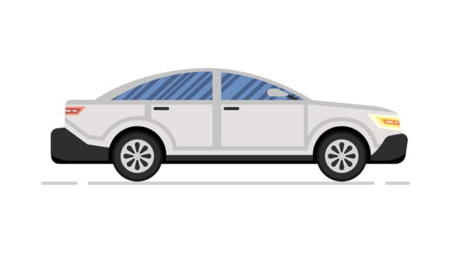 car animation. modern sedan. looped animation. 4k resolution - clip art video stock e b–roll