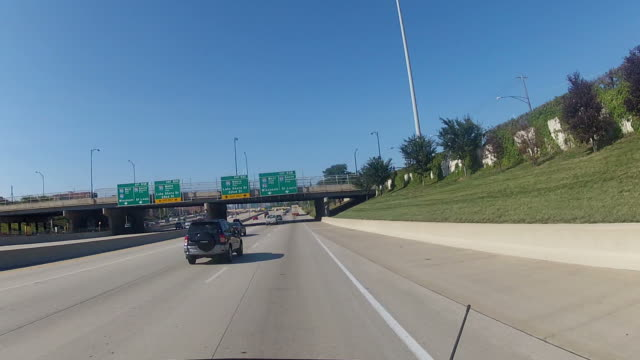 POV car approaching Chicago Downtown from freeway video